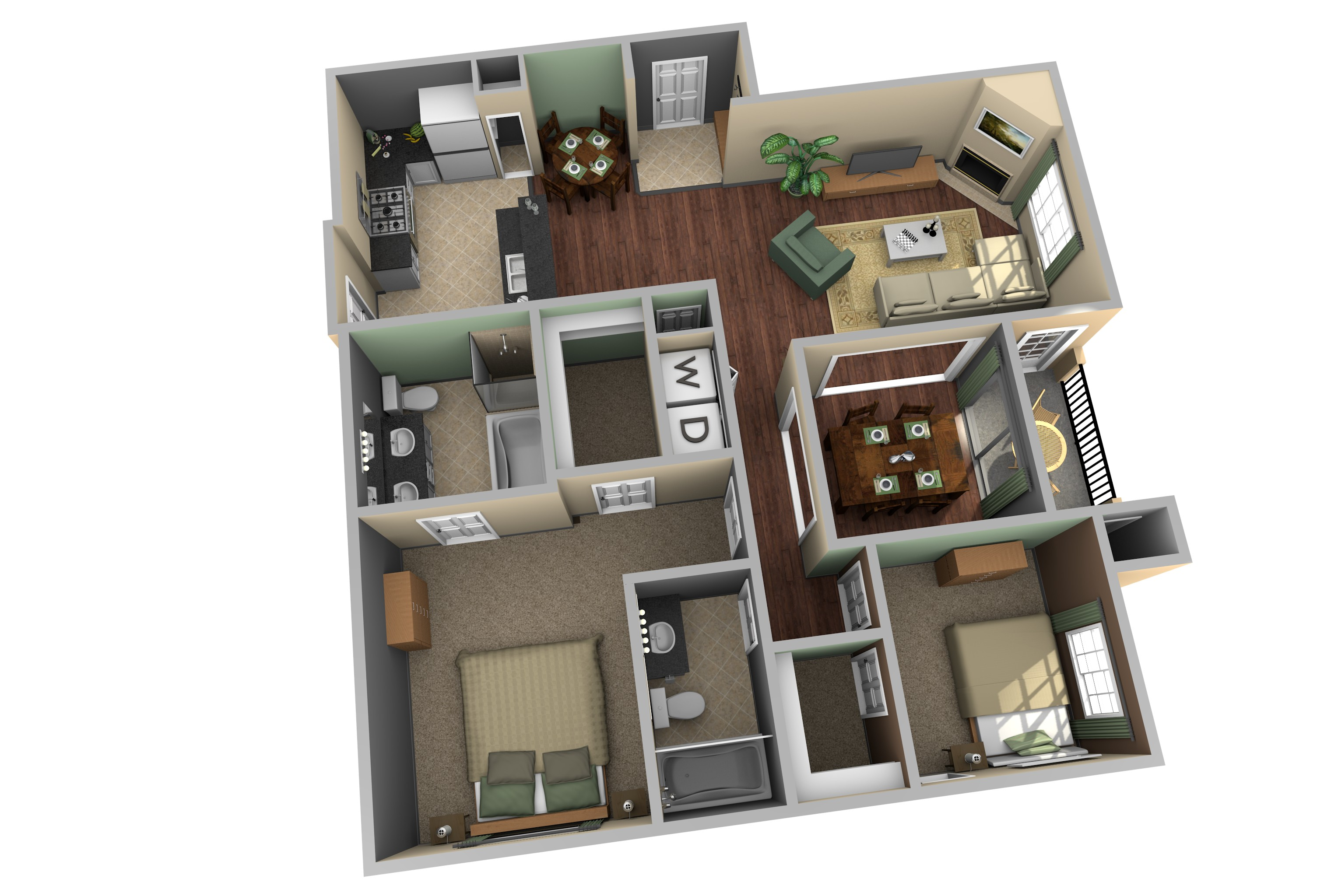 Example Of 3D Apartment Floor Plan. Allure   Magnolia 3. Allure   Magnolia 2